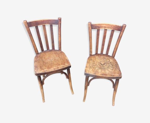 Lot de 2 chaises bistrot 1925 marquetées art deco