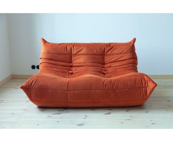 Set of 3 sofas Togo in orange velvet by Michel Ducaroy for Ligne Roset