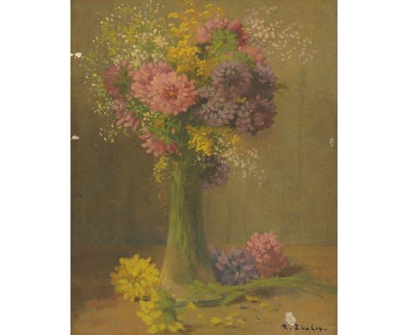 Paire de huiles sur toile bouquet de fleurs