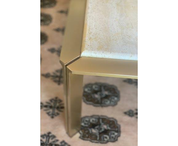 Table basse vintage métal et pierre