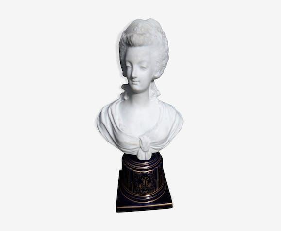 Ancien buste de Marie Antoinette porcelaine, biscuit d'époque XIX ème