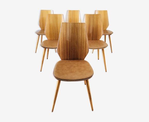 Set de 6 chaises Baumann pieds compas