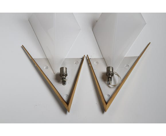 Brass and lucite sconces