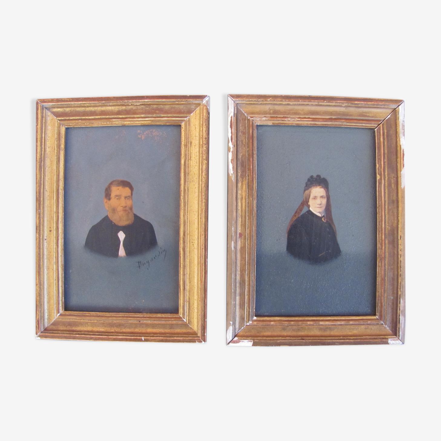 Deux portraits cadre en bois doré