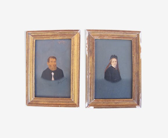 Two portraits wooden frame