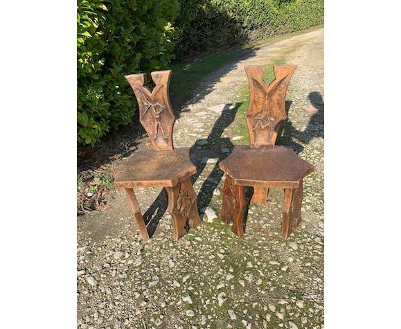 2 chaises Johnny Ludecher Art populaire en bois massif