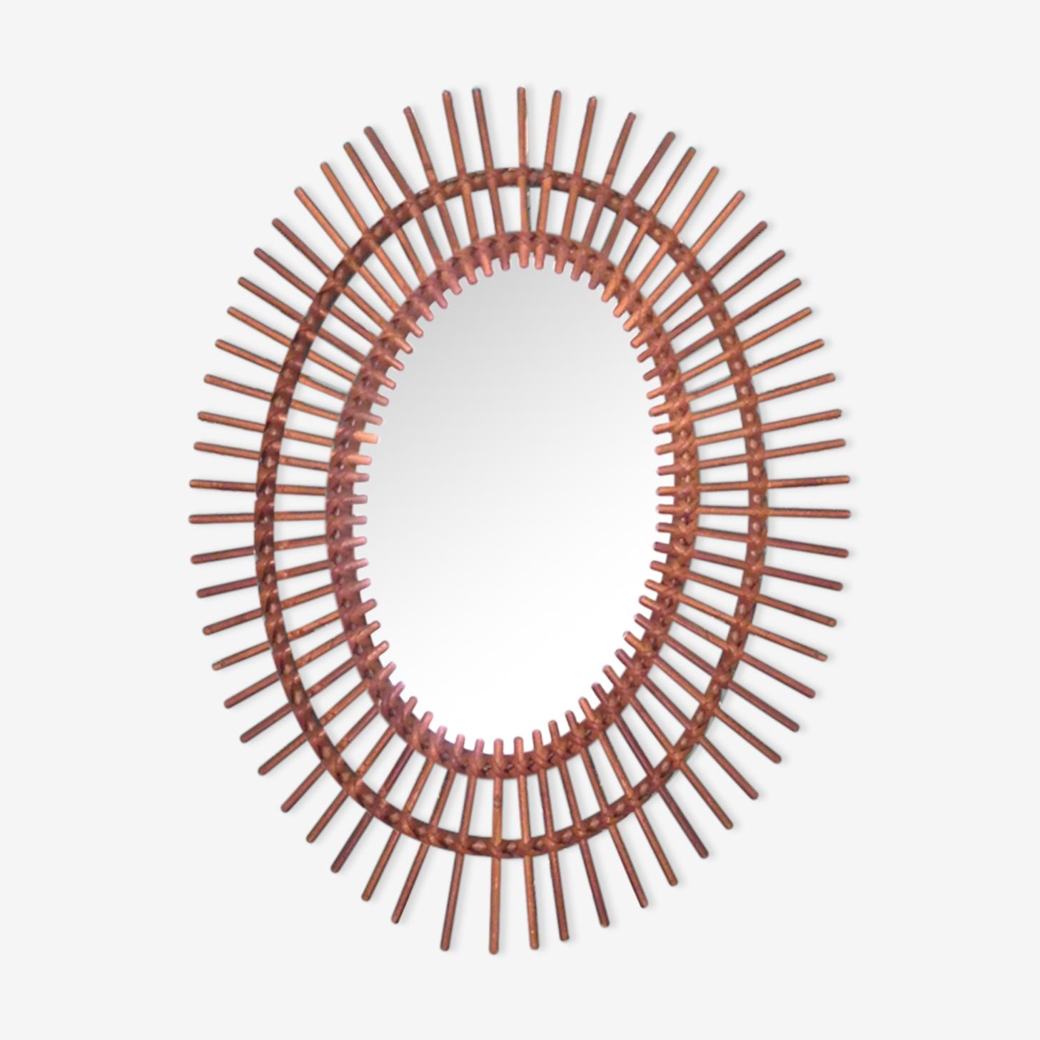 Rattan sunglass mirror 49x61cm