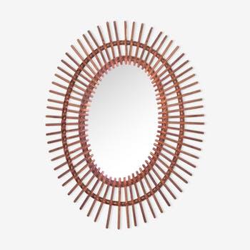 Miroir soleil en rotin 49x61cm