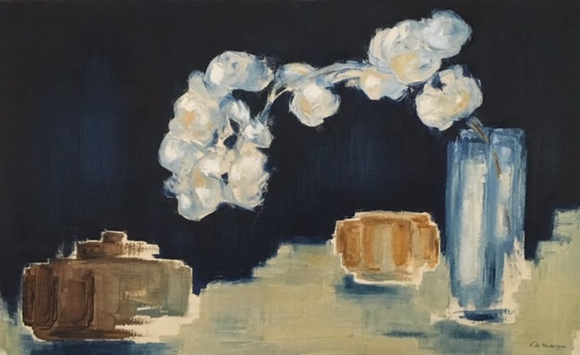 Peinture nature morte fleurs et vases