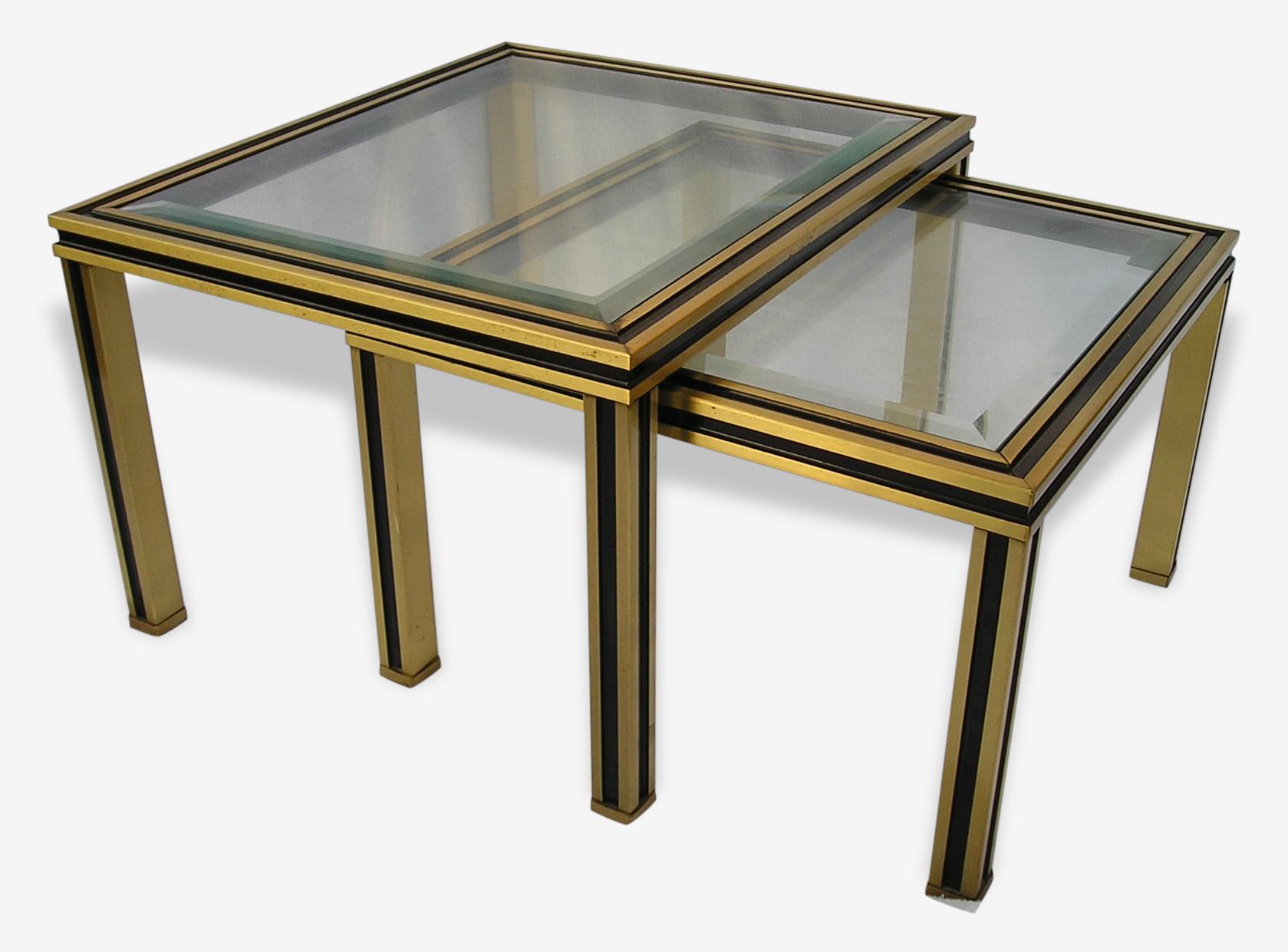 Ensemble de 2 tables basses gigognes, style Pierre VANDEL, alu et verre biseauté, années 70/80