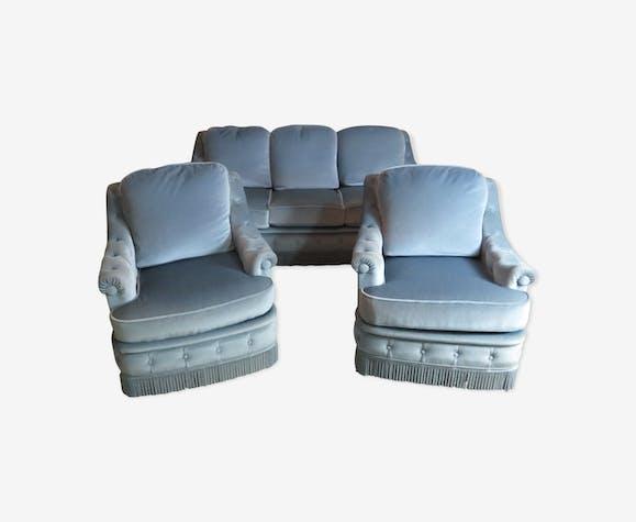"""Salon banquette et 2 fauteuils en velours bleu """"le denise"""" 70"""