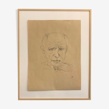 Esquisse originale portrait de Pablo Picasso