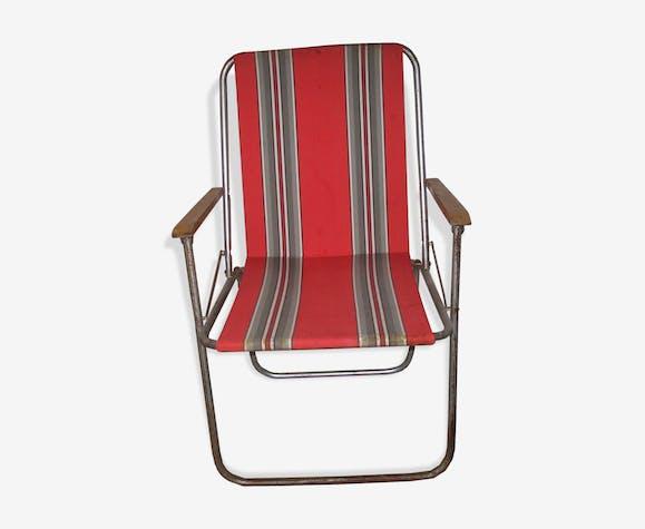 Chaises pliante années 60 de jardin ou de camping tissu