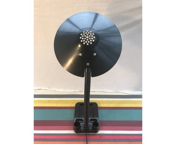 Lampe de bureau rangement aluminor métal + bras flexible noir années 80 vintage