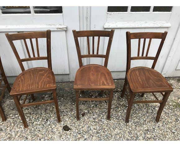 Série de 6 chaises bistrot Luterma hêtre foncé vintage 1950