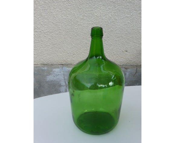 Dame jeanne en verre de couleur vert foncé, vintage