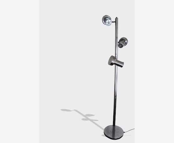 Lampe 3 Spots Inox Metal Gris Vintage 3458