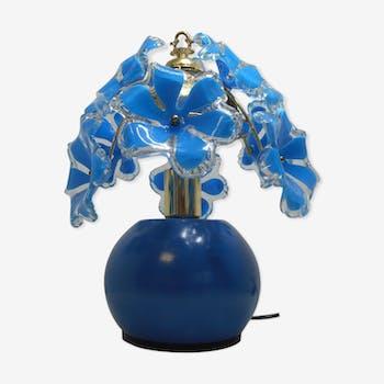 Lampe fleurs bleues style vintage
