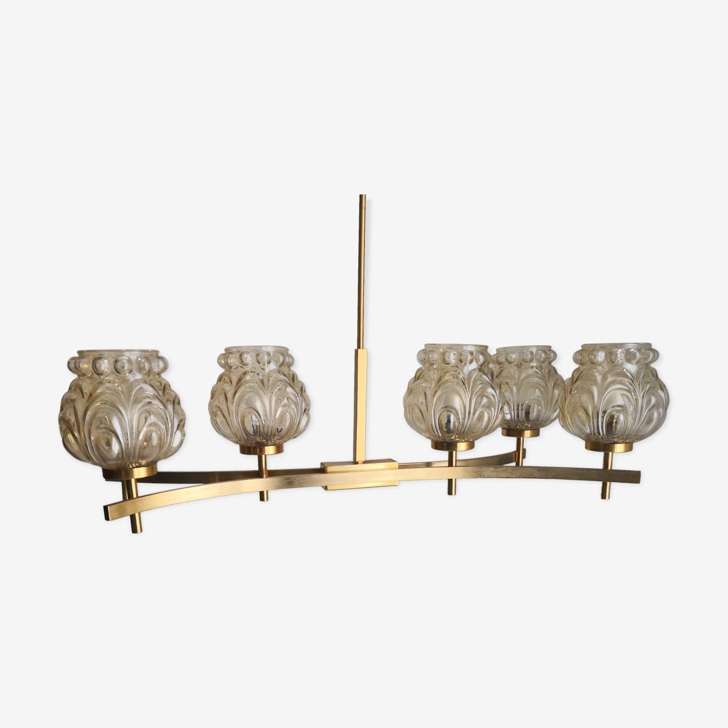 Lustre 6 globes verre ambré des années 60