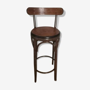 Wooden varnished leather and wood bar stool
