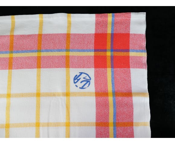 Nappe et 11 serviettes a liteaux croisés rouge orange bleu