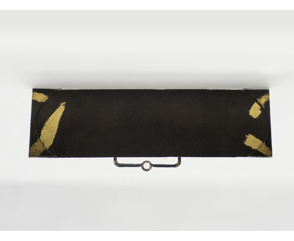 Pair of consoles by Jean-Jacques Argueyrolles in gold-leaf iron circa 1990