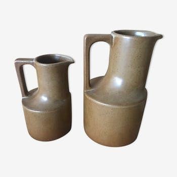 Pair of sandstone pitchers