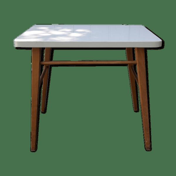Table Basse En Bois Et Plateau Gris Bois Materiau Gris Bon Etat Vintage 1a65a52p