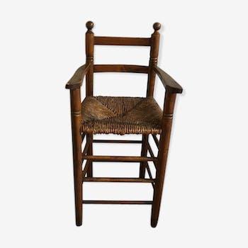 Chaise haute enfant bois massif vintage