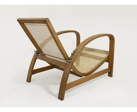 Jindrich Halabala reclining chair in wood and cane, 1930s