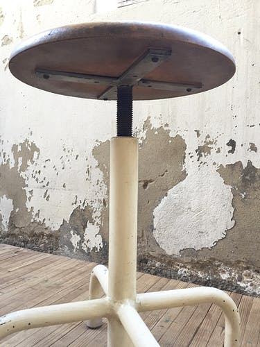 Industrial stool wood and metal