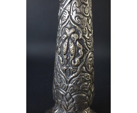 Bougeoir en métal argenté 29cm perse oriental vers 1930