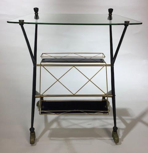 Table d'appoint vintage en métal laqué Angelo Ostuni des année 1950