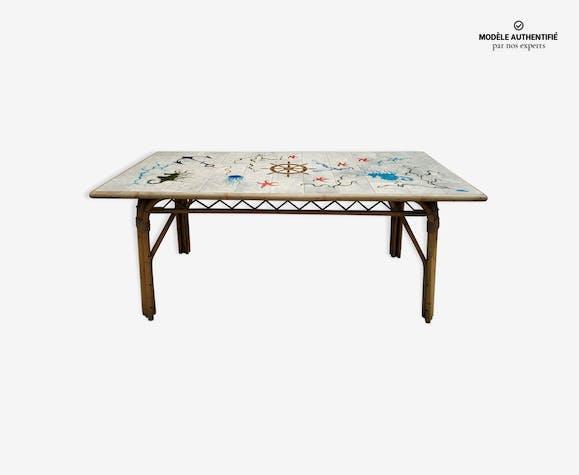 Table vintage en rotin Audoux et Minnet et céramique Chassin 1950