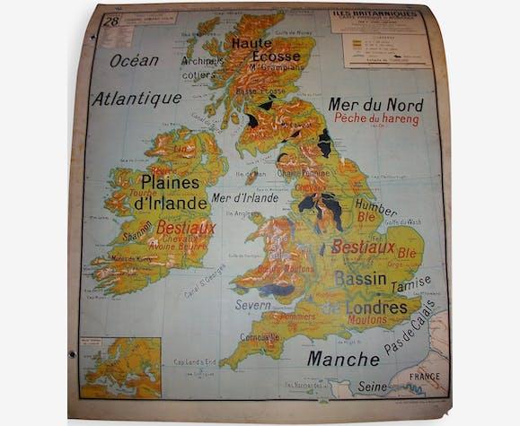 "Carte scolaire Vidal Lablache ""Iles Britanniques"""
