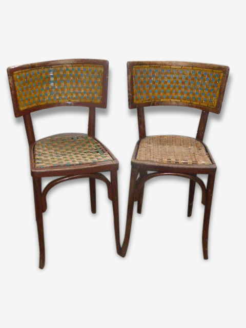 Paire de chaises bistrot Art Deco Baumann, osier tressé bicolore et bois