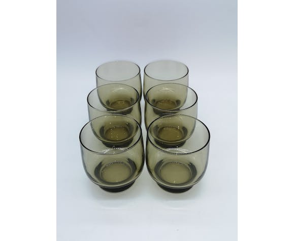 Service with lemonade vintage smoked glass Pitcher ball and 6 glasses