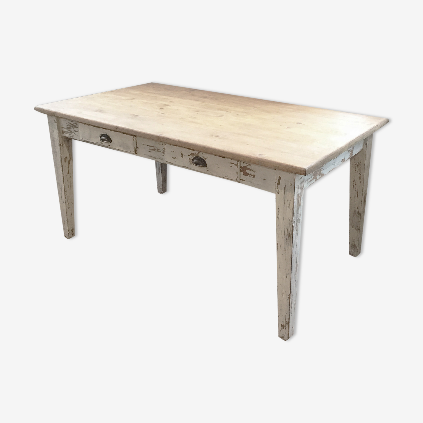 Table de ferme blanche 160 x 90