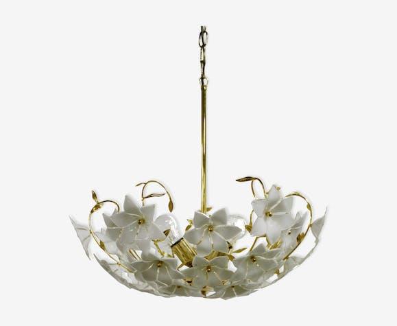 lustre en laiton et verre de Murano fleur des années 1970