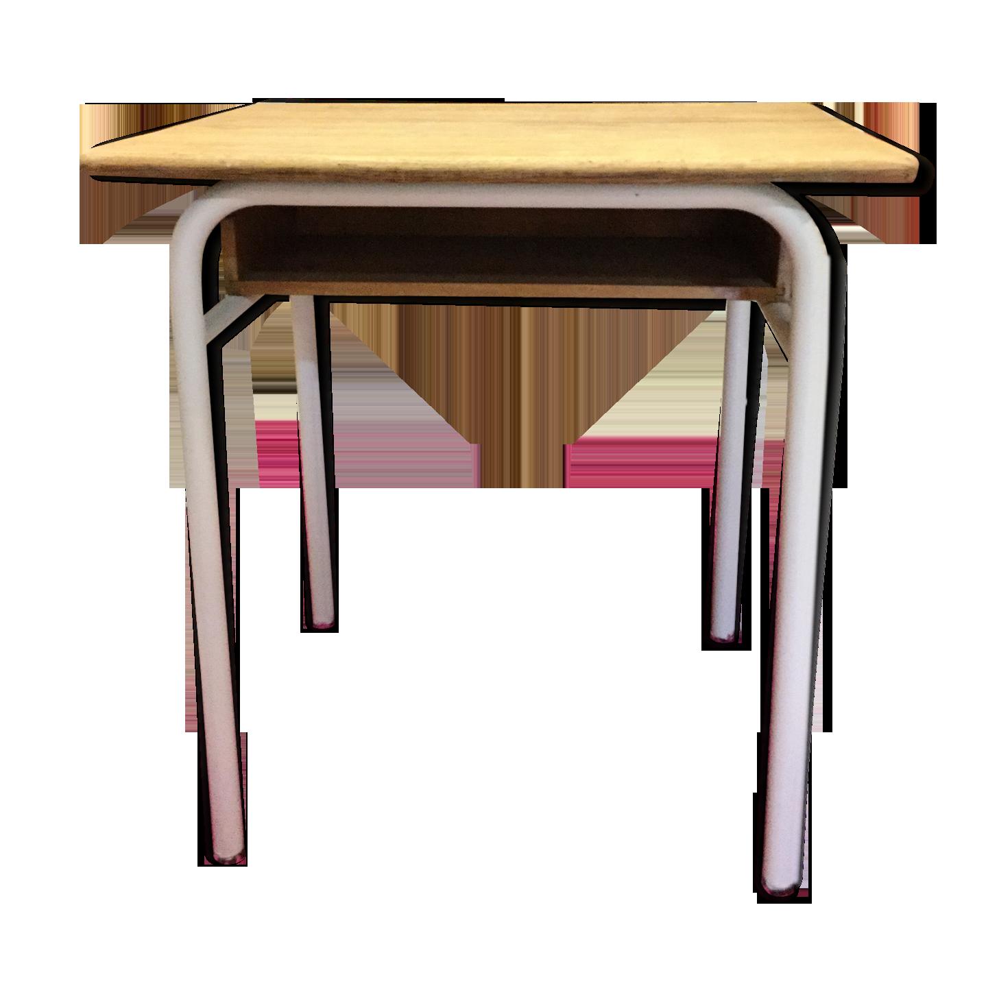 Bureau écolier avec casier en bois massif et tube métal métal