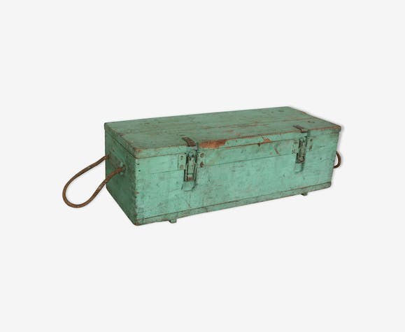 Green vintage wood tool case