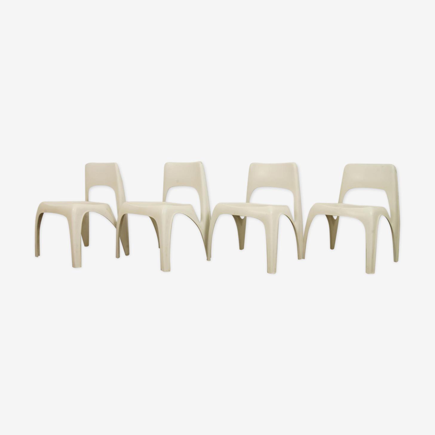Lot de 4 chaises par Preben Fabricius pour Interplast, 1970