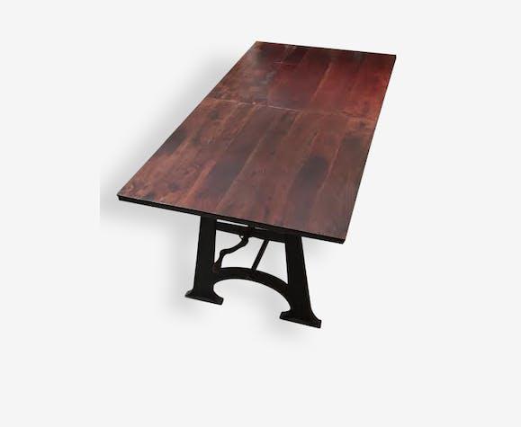 Table Industrielle - Acacia & Fonte de Qualité