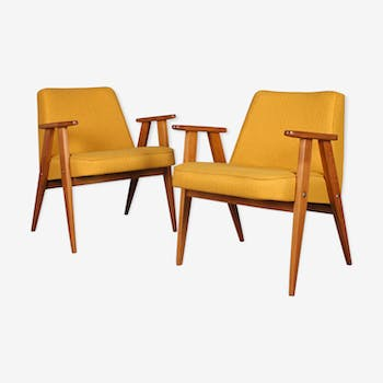 Pair of Polish armchairs, model 366, by Jozef Chierowski