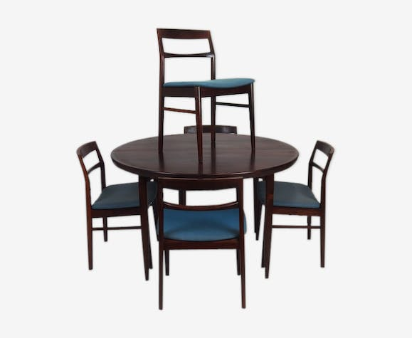 Set dining table in rosewood and its five chairs