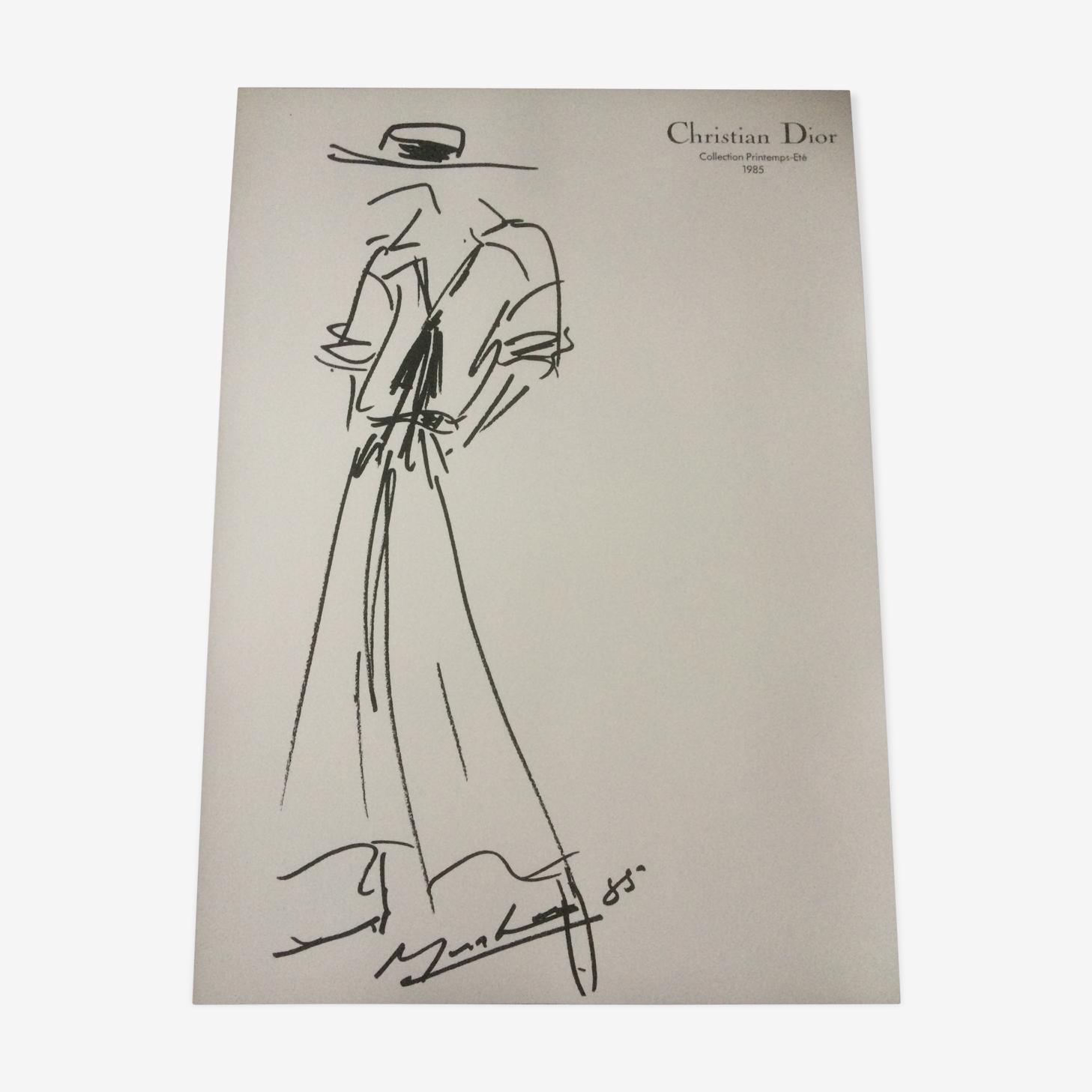 Croquis Christian Dior de mode vintage de presse en noir et blanc