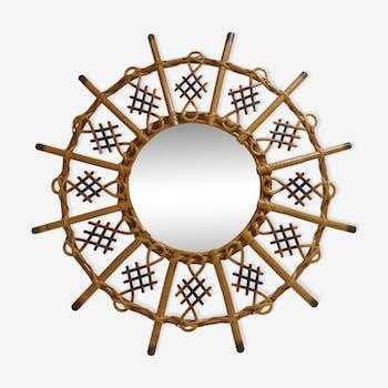 Miroir soleil rotin et bambou année 60 - 60x60cm
