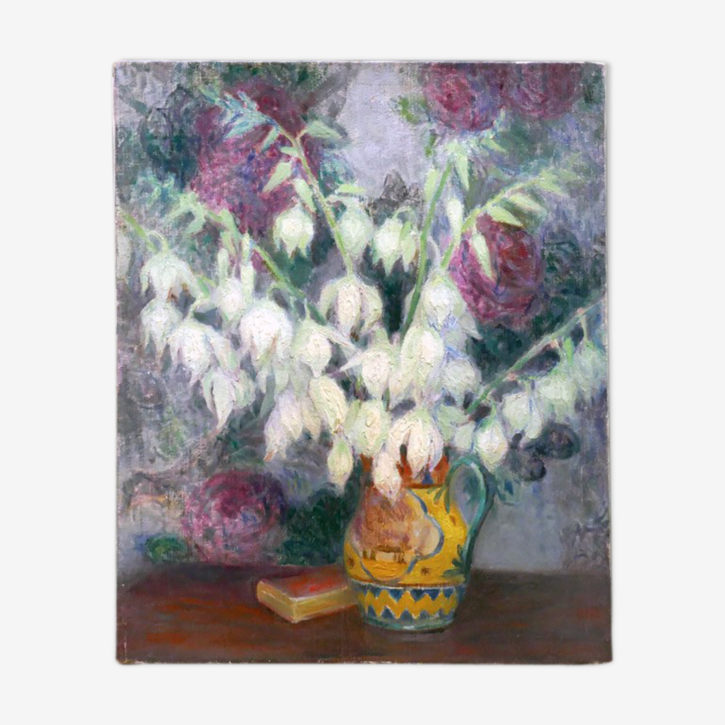 Tableau impressionniste nature morte composition florale avec livre attribué à G.Grenthe