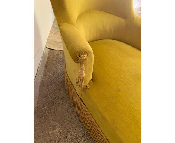 Méridienne en velours jaune