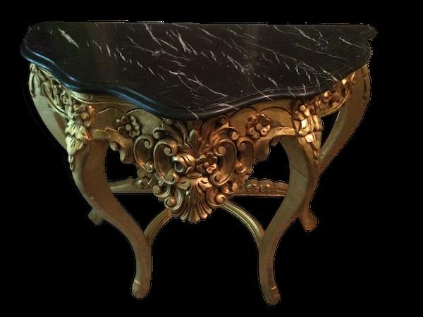 Console pieds bois doré avec plateau marbre
